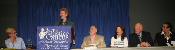 from left: Gov. Jennifer Granholm, Sen. Debbie Stabenow, Paul Stevenson, Justice Diane Hathaway, Justice Alton Thomas Davis, Judge Denise Langford Morris at the 2010 MDP Convention