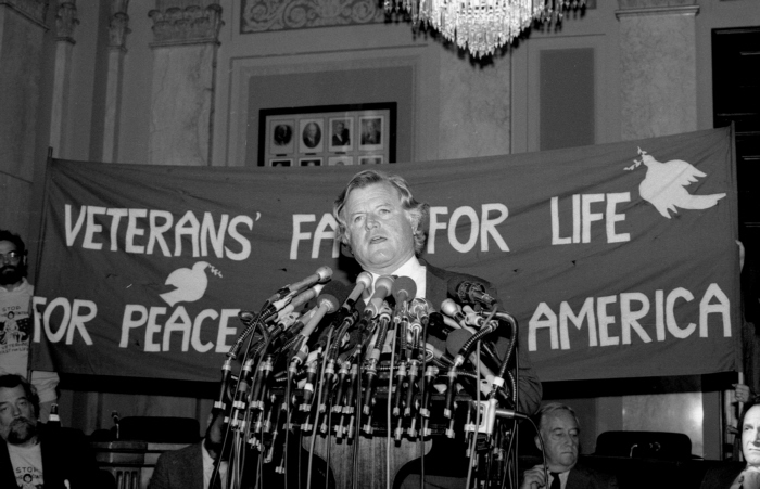 Edward Kennedy addresses the press conference