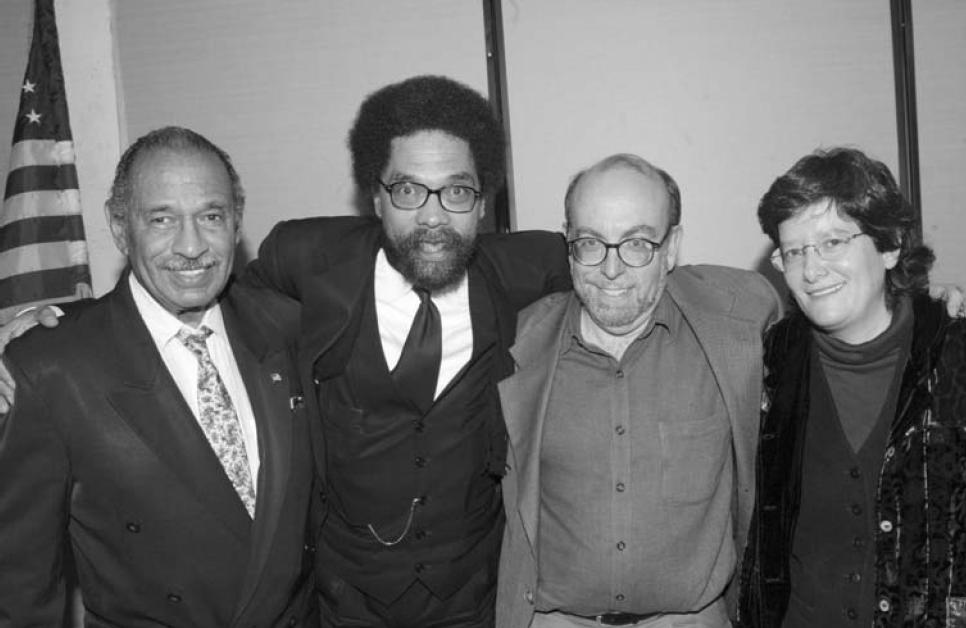 Conyers with DSA members Cornel West, Harold Meyerson and Holly Sklar, Detroit 2003