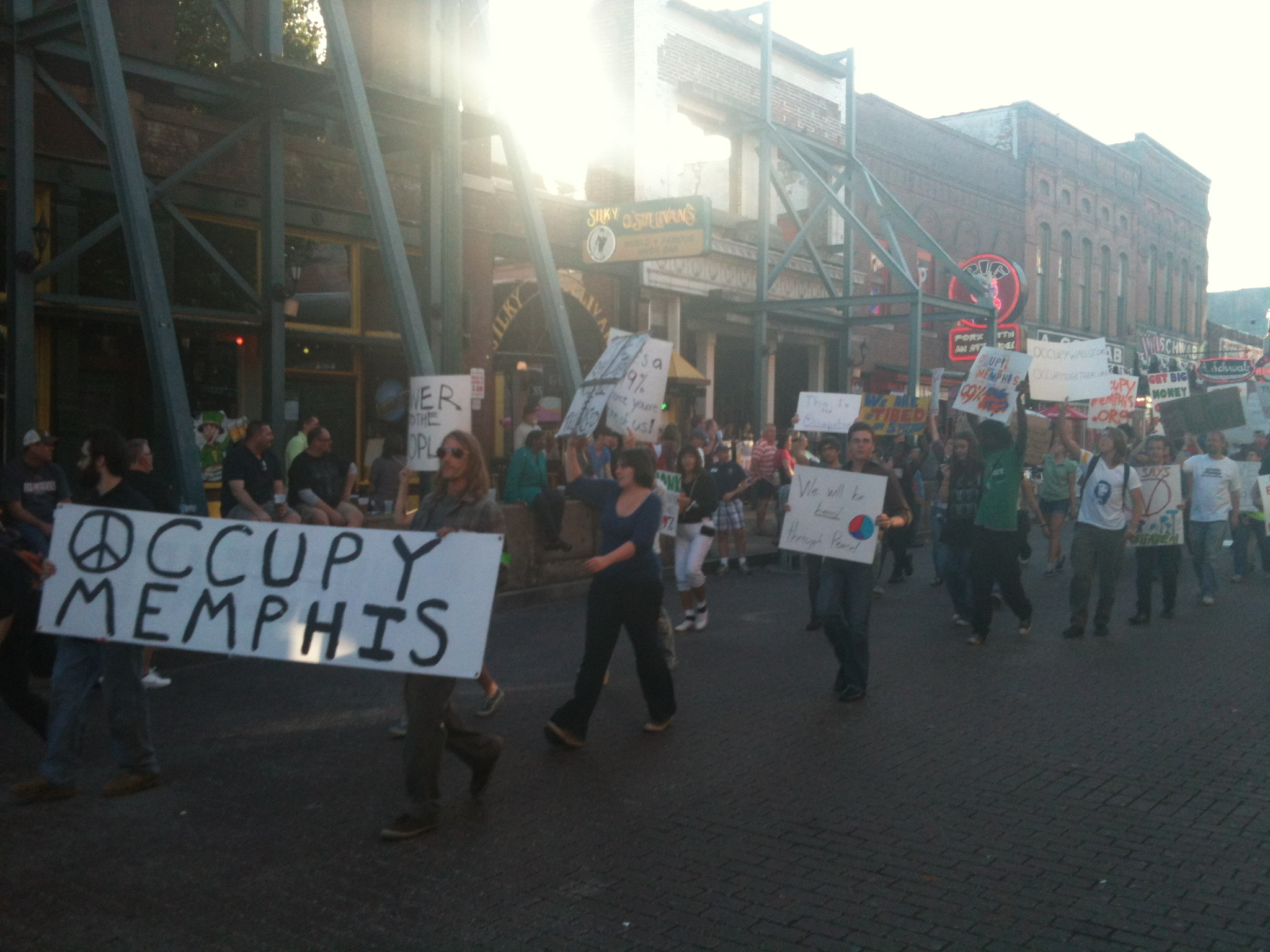 Memphis DSA members take part in a march through downtown Memphis and historic Beale Street