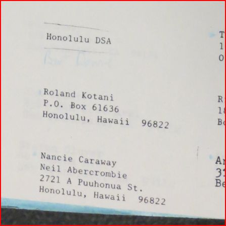 Early 1980s, DSA Hawaii membership list