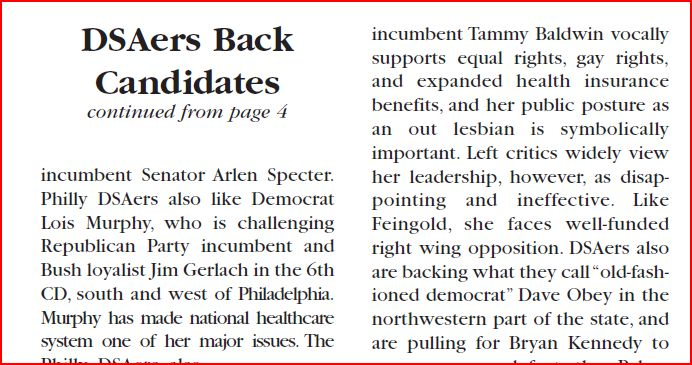 Democratic Left, Fall 2004, page 6