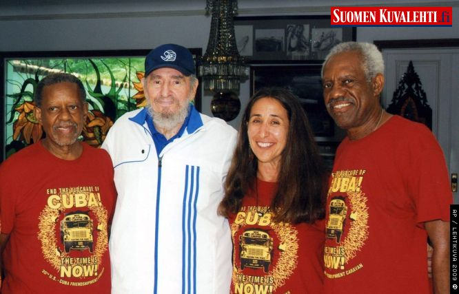 July 31, 2009. from left, Rev. Lucius Walker, Fidel Castro, Ellen Bernstein, and Rev. Tom Smith