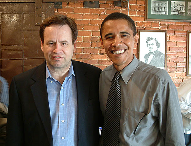 Lane Evans, Barack Obama, The Cherry Street Restaurant and Bar,   Galesburg, 2003