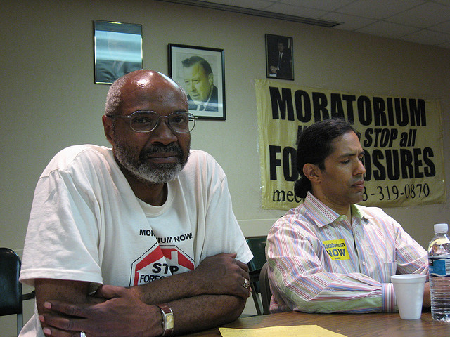 Workers World Party leader Abayomi Azikiwe with Hansen Clarke, Town Hall Meeting, June 14, 2008