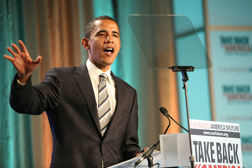 Sen. Barack Obama speaks at the 2007 Take Back America Conference