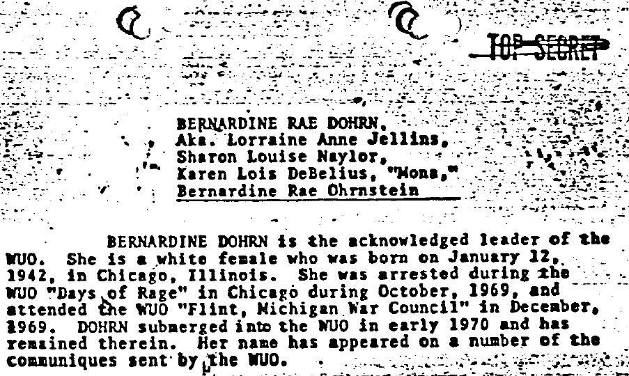 Section from Dohrn's profile in the Weatherman Underground Summary Dated 8/20/76, Part 2