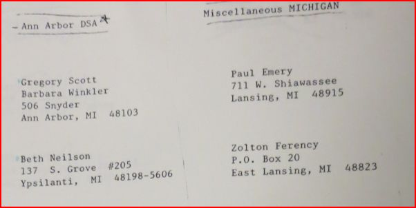 Michigan DSA members list, early 80s