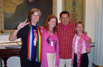 from left: Cindy Sheehan, Jodie Evans, Hugo Chavez and Medea Benjamin