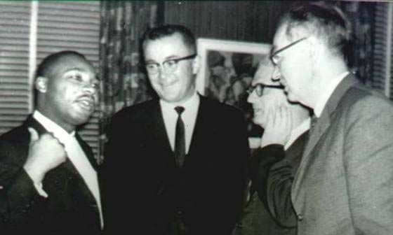 Dr.Martin Luther King, Jr., Frank Wilkinson, Carl Braden and Dr. James Dombrowski at the SCLC reception