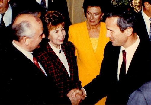 Mikhail and Raisa Gorbachev, with Mark Dayton
