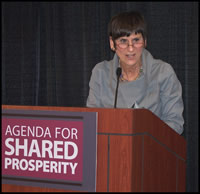 Rosa De Lauro speaking at Agenda for Shared Prosperity event in 2007