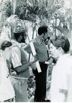 From right to left: Prexy Nesbitt of the U.S. Out of Angola Committee and the Chicago Committee for the Liberation of Angola, Mozambique and Guinea and Robert Browne of the Black Economic Research Center