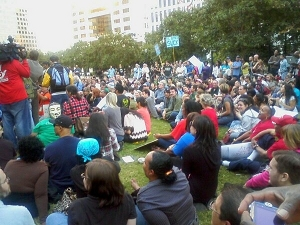Protestors at the Occupy Atlanta demonstration