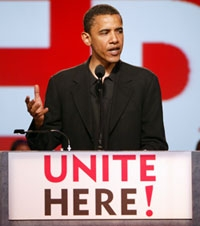 Obama speaking at UNITE HERE event