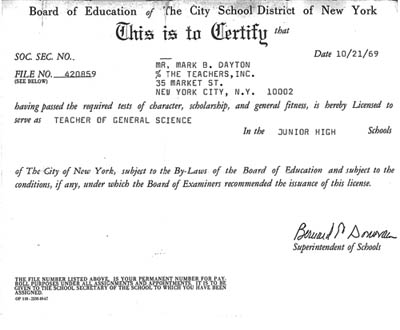 NYC teachers licence