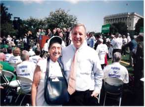 Dick  Durbin and author at Alliance for Retired Americans rally against privatizing Social Security, 2009