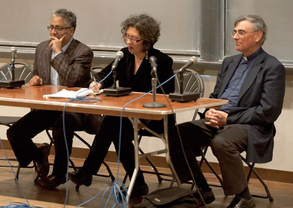 Prasannan Parthasarathi, Judith LeBlanc, and the Rev. Robert Moore address audience questions during a speakers' panel.
