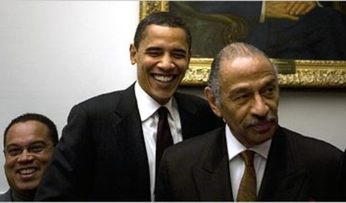 Barack Obama and John Conyers, Jr.