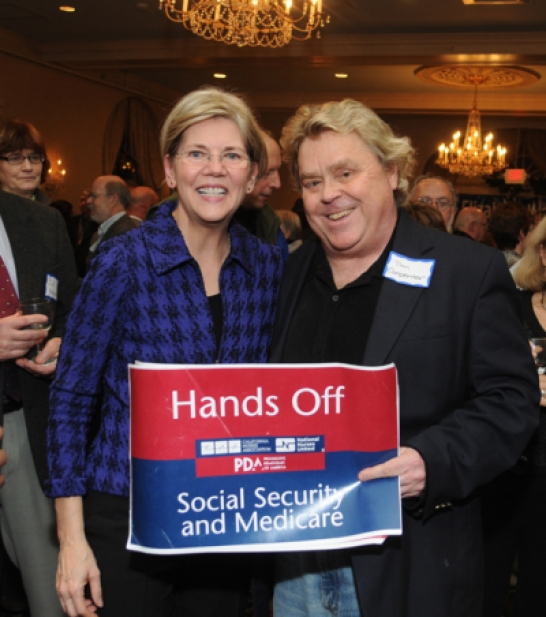 Warren with PDA head Tim Carpenter - once a leader of Orange County Democratic Socialists of America