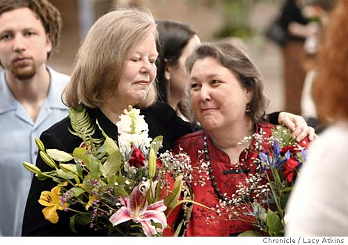 Sharon Stricker and Jackie Goldberg at their wedding, March 9, 2004